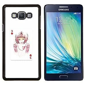 Qstar Arte & diseño plástico duro Fundas Cover Cubre Hard Case Cover para Samsung Galaxy A7 A7000 (3 de corazones)
