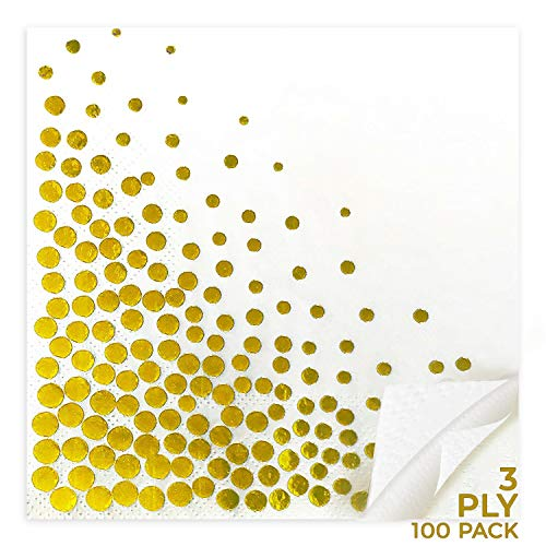 Cocktail Napkins -Gold Polka Dot Design, 100 Pack, 3-Ply, White Paper, Cocktail Dinner Lunch Boy Girl Baby Shower Birthday Wedding, Anniversary Party Supply, Disposable Tableware Decorations