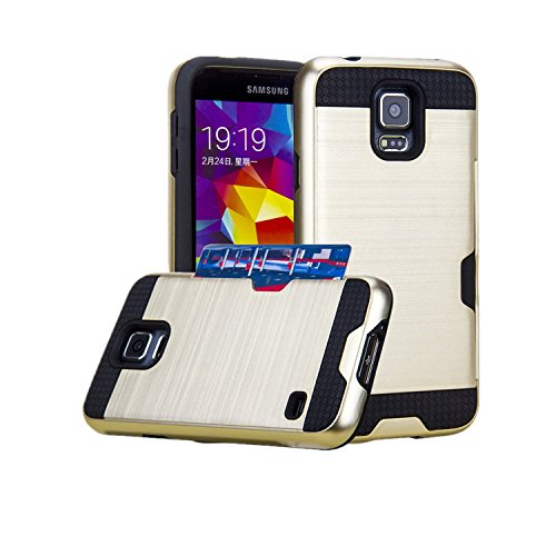 Galaxy S5 Case, Asstar [Stand Feature] Card Slot Case [Anti Scratch] Dual Layer Shockproof [Soft Rubber Bumper] Hybrid Protective Card Case for Samsung Galaxy S5 (Gold)