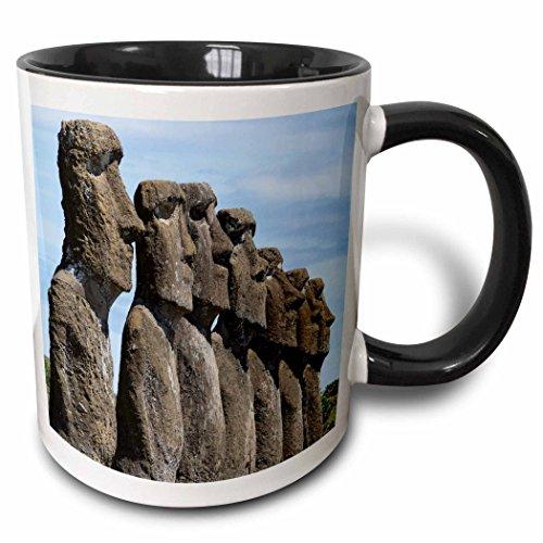 (3dRose Danita Delimont - Statues - Chile, Easter Island, Rapa Nui. Ahu Akivi, ceremonial statues - 15oz Two-Tone Black Mug (mug_228717_9) )