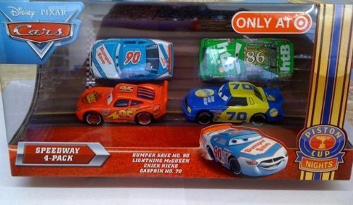 Disney / Pixar CARS Movie Exclusive 155 Die Cast Piston Cup Nights Speedway 4Pack Bumper Save, Lightning McQueen, Chick Hicks Gasprin
