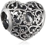 Pandora 791784msg June Signature Heart Charm