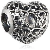 Pandora 791784msg June Signature Heart Charm
