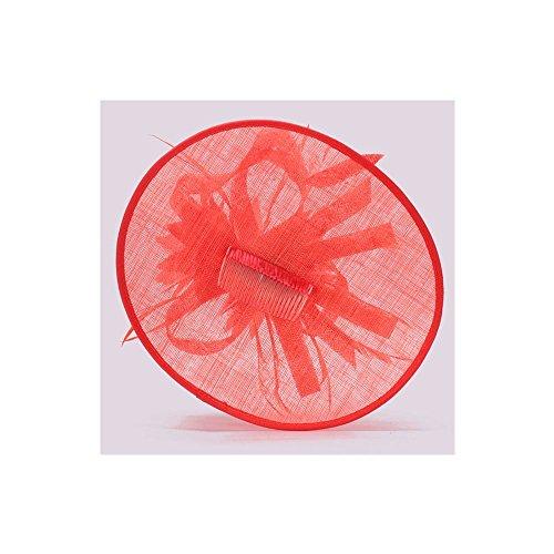 LeahWard®sac de femme Styliste modéliste Fascinator Hat Hair Accessories Wedding Hen Fête qualité Flower Feather Headband / Comb CWH00205 CWHA006 CWH00202 (CWH00202-Coral avec Comb)