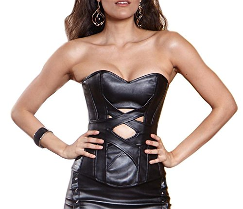 [Musiclovely sexy Women's Amazing Leather Overbust Corset Large Black] (Sexy Halloween Costumes Canada)