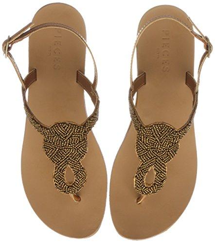 PIECES Damen Pscarmen Leather Sandal Zehentrenner Braun (Cognac - Bronze Beads)