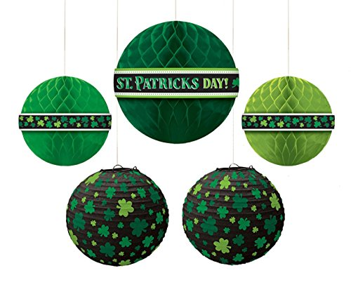 amscan Party Supplies, St. Patrick's Day Hanging Bouquet, Party Decorations, Multisizes, Green, 5ct ()