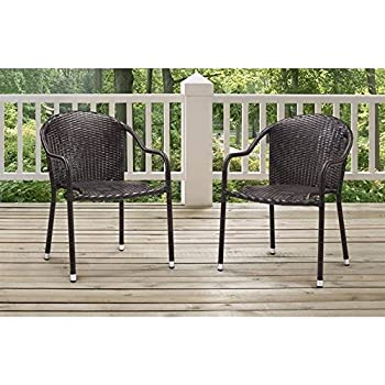 Crosley Furniture Palm Harbor Outdoor Wicker Stackable Chairs   Brown (Set  Of 2)