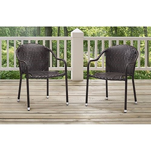 Brown Stackable (Crosley Furniture Palm Harbor Outdoor Wicker Stackable Chairs - Brown (Set of 2))