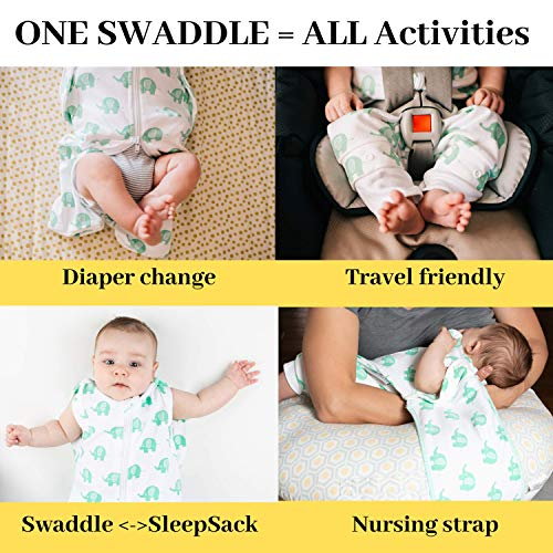 SNUGGLEBEES Swaddle Wrap - Premium Organic Cotton Infant/Baby Sleepsack Blanket | Hip Healthy | Breathable, Lightweight for Summer | Magic/Miracle/Dream (Medium, Elephant)