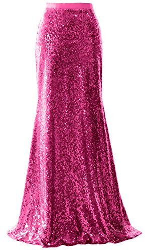 Long Wedding Bridesmaid Sequin Macloth Elegant Skirt Fuchsia Party Dress Mermaid x6XxTwp