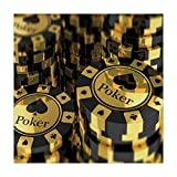 Polyester Square Tablecloth,Poker Tournament Decorations,Gold and Black Poker Chips Gambling Club Currency Stack Wager Decorative,Gold Black,Dining Room Kitchen Picnic Table Cloth Cover,for Outdoor In