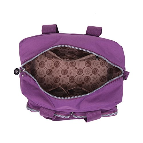 Top Handle TianHengYi Satchel Nylon Crossbody Handbag Purple Color with Pure Lightweight Pockets Zipper Girls qxRX1wR6pY