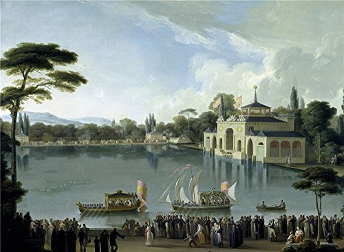 'Ribelles Y Helip Jose Embarque Real En El Estanque Grande Del Retiro Ca. 1820 ' Oil Painting, 30 X 41 Inch / 76 X 104 Cm ,printed On High Quality Polyster Canvas ,this Imitations Art DecorativePrints On Canvas Is Perfectly Suitalbe For Foyer Decoration And Home Gallery Art And Gifts