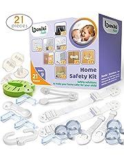 Kit de seguridad de 21 piezas para niños por Boxiki Kids. 8 protectores para esquinas, 4 protectores para enchufes, 2 correas antivuelco para muebles, 1 tope para puerta y 6 cerraduras de seguridad para niños. Kit completo de prevención para bebés, para la seguridad en el hogar.