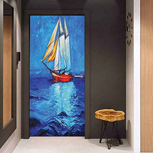 - Door Sticker Ship Oil Painting Style Sailship Frigate Floating on The Sea Modern Impressionism Artwork Glass Film for Home Office W23 x H70 Multicolor
