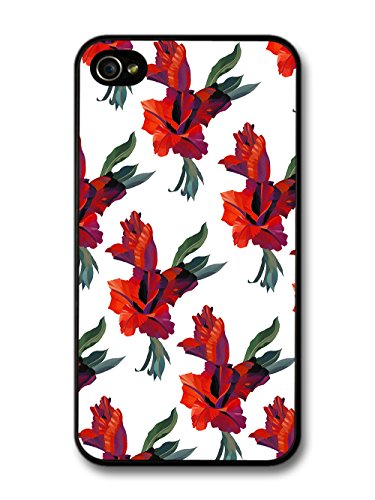 Cool Painting Pattern of Red Floral Print Flowers on White case for iPhone 4 4S