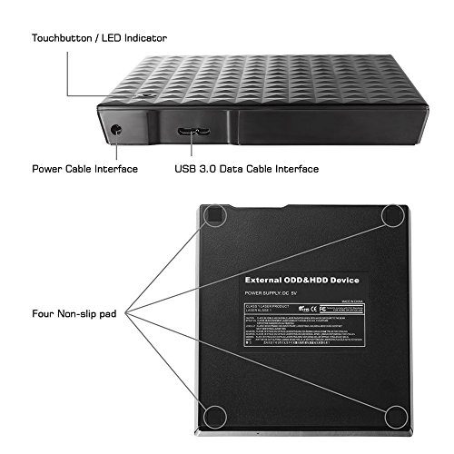 Dainty DVD Drive USB External 3.0 CD DVD +/-RW Burner Rewriter Player, Optical DVD Superdrive High Speed Data Transfer for Laptop MacBook Desktop Computer Support for Windows10/8/7/XP/Mac OS by Dainty (Image #3)