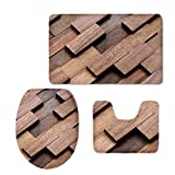 CHAQLIN Funny Modern Home Decor Bathroom Carpet/Contour/Lid Cover Anti-Slip 3 Piece Set Washable (Wood)