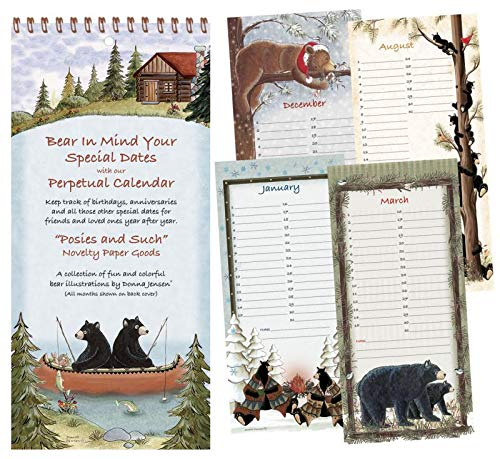 Perpetual Calendar for Desk and Wall Hanging - Flip Yearly Calendar 11x5 inch Bear Art ()