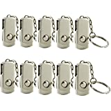 10 Pack Metal 32GB USB 2.0 Bulk Flash Drives Thumb Drive Memory Stick Pen Drive Jump Drive Silver with Keychain Design