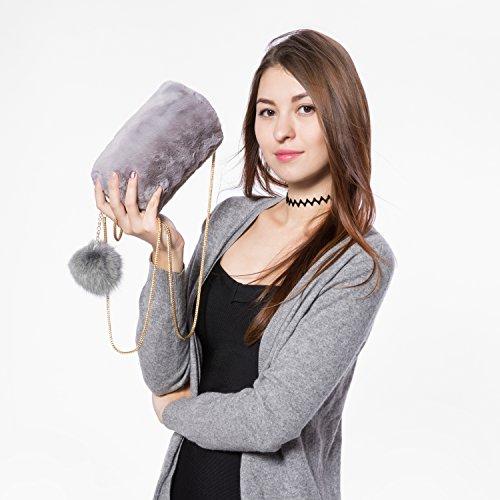 with Rabbit Gray Artificial Fur Ball for Artificial Bag Bags Purse Fur weight Women Shoulder Purple Crossbody Removable Soft Light q7vCw