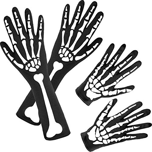 2 Pairs Halloween Skeleton Gloves Full Finger Skeleton Gloves Long Arm Skeleton Gloves for Kids and Adults