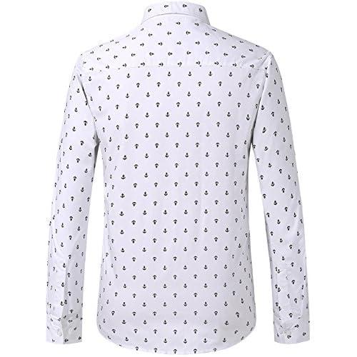 Tortor 1Bacha Mens Dot Print Long Sleeve Button Down Shirt