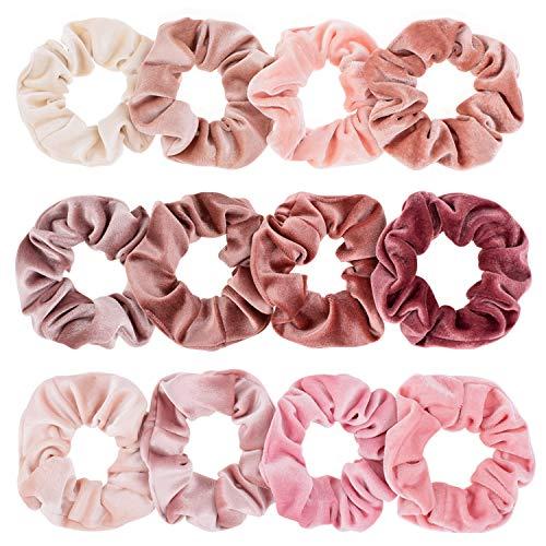 Whaline Blush Theme Hair Scrunchies Velvet Elastics Pink Lovers Scrunchy Bobbles Soft Hair Bands Hair Ties Hair Accessories for Women or Girls (12 ()