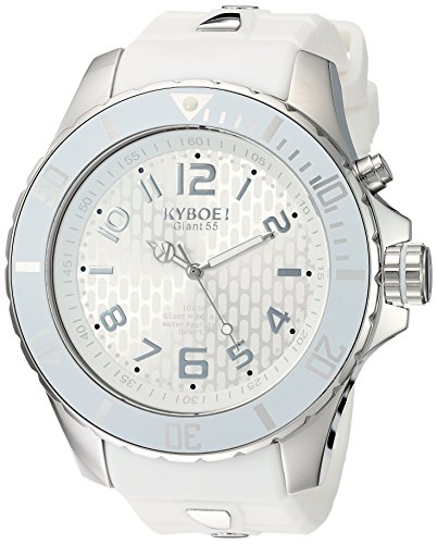 KYBOE! 'Power' Quartz Stainless Steel and Silicone Casual Watch, Color:White (Model: KY.55-010.15)