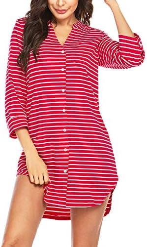 Ekouaer Women's Nightgown Striped Sleepwear 3/4 Sleeves Nightshirts Soft Button Sleep Dress