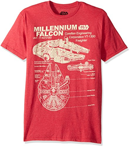 Star Wars Men's Millennium Falcon Detailed Drawing T-Shirt, Red Heather, Medium