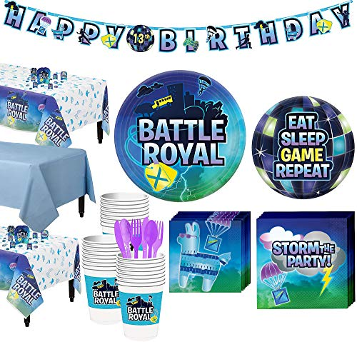 (Party City Battle Royal Tableware Supplies for 24 Guests, with Table Covers Decorations and)