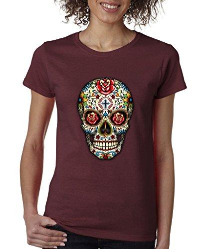 Sugar Skull Rose Eyes Grunge Ladies T-Shirt Day of Dead Shirts 3XL Maroon s2 ()