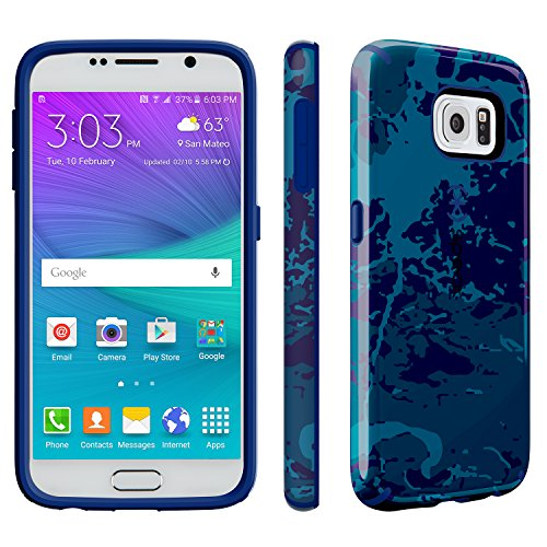 Speck Products CandyShell INKED Case for Samsung Galaxy S6 - Carrying Case - Frustration-Free Packaging - Color Field Blue/Cadet Blue