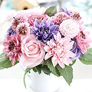 Meiliy 1 Bunch 8 Pcs Artificial Rose Dahlia Daisy Flower Bouquet Bride Bridesmaid Holding Flowers for Home Hotel Office Wedding Party Garden Craft Art Decor 79