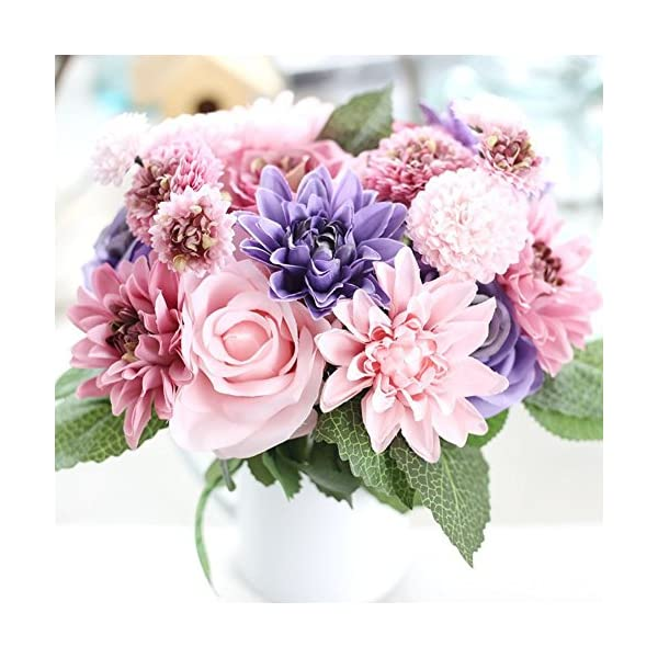 Meiliy-1-Bunch-8-Pcs-Artificial-Rose-Dahlia-Daisy-Flower-Bouquet-Bride-Bridesmaid-Holding-Flowers-for-Home-Hotel-Office-Wedding-Party-Garden-Craft-Art-Decor