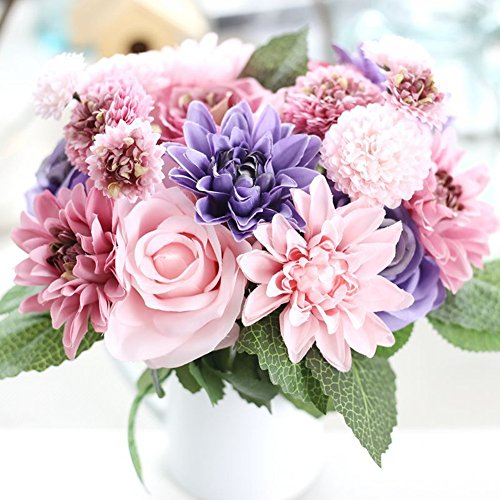 Meiliy 1 Bunch 8 Pcs Artificial Rose Dahlia Daisy Flower Bouquet Bride Bridesmaid Holding Flowers For Home Hotel Office Wedding Party Garden Craft Art Decor, Purple&Pink