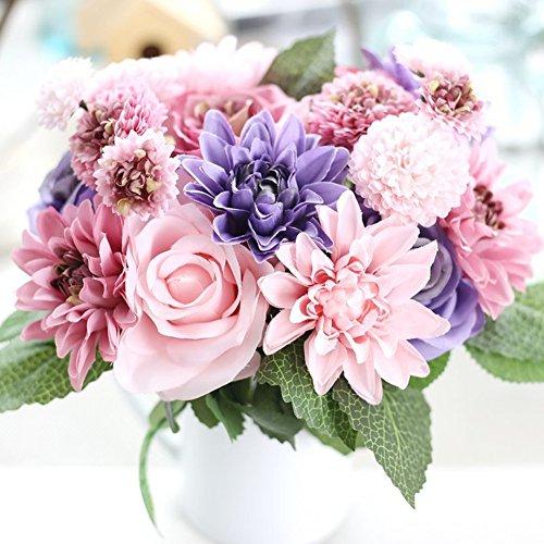 Meiliy 1 Bunch 8 Pcs Artificial Rose Dahlia Daisy Flower Bouquet Bride Bridesmaid Holding Flowers For Home Hotel Office Wedding Party Garden Craft Art Decor, PurpleΠnk (Artificial Bouquet)