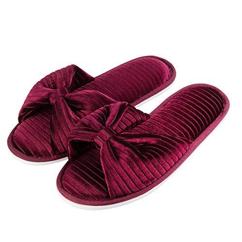Shoes Cozy Red Cotton Royal Slide Wine Anti Slip House Bedroom Slipper a8nx5v