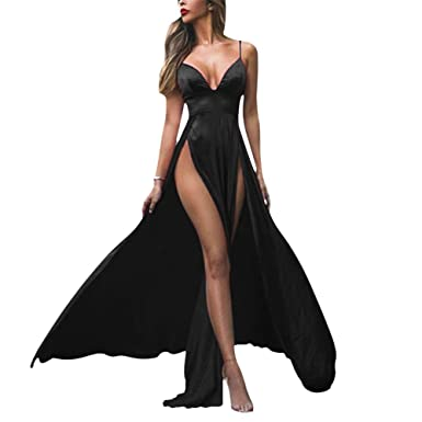 LeoGirl Womens Sexy Deep V-Neck Double Slit Long Prom Dresses Spaghetti Straps A-