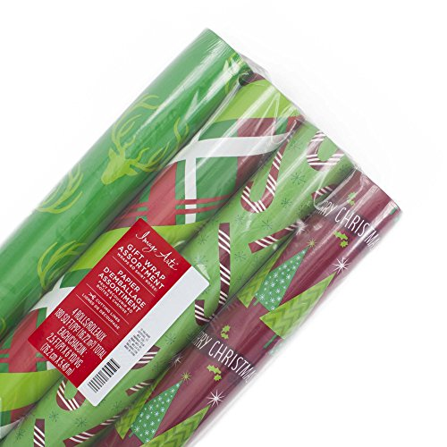 Image Arts Christmas Wrapping Paper Bundle with Cut Lines on Reverse, Red and Green Classic (Pack of 4, 180 sq. ft. ttl.)