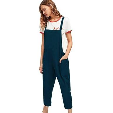 Hosenträger Frauen Overalls Solide Einfarbig Weite Bein ärmellos Damen Hosen