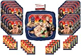 Wrestling WWE The Rock John Cena Party Supplies Bundle Pack for 16 (Plus 17 inch Balloon Plus Party Planning Checklist by Mikes Super Store)