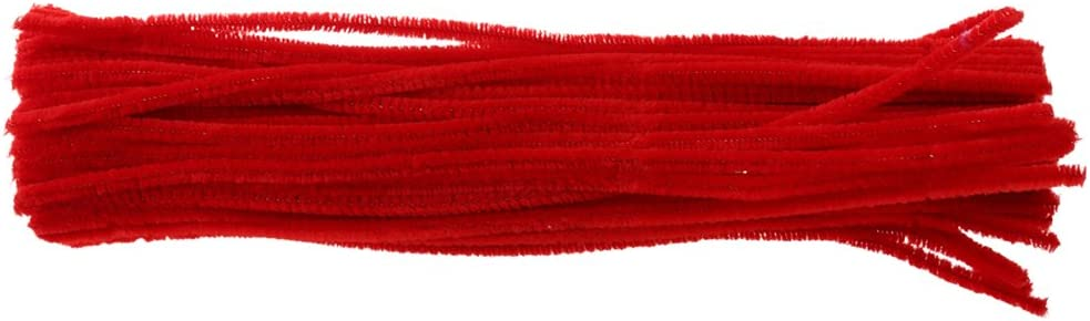 Red 100 Pieces Chenille Stems Pipe Cleaners Craft Toys Twist Rod 10-Color Choice
