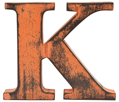 Cannister Orange - Shabby Chic Vintage Large 11 cm Wooden Letters Hand Finished Alphabets Free-Standing Or Wall Mounted D�cor for Weddings Baby Names Signs Unique Personalised Gift. (Orange, Letter K)