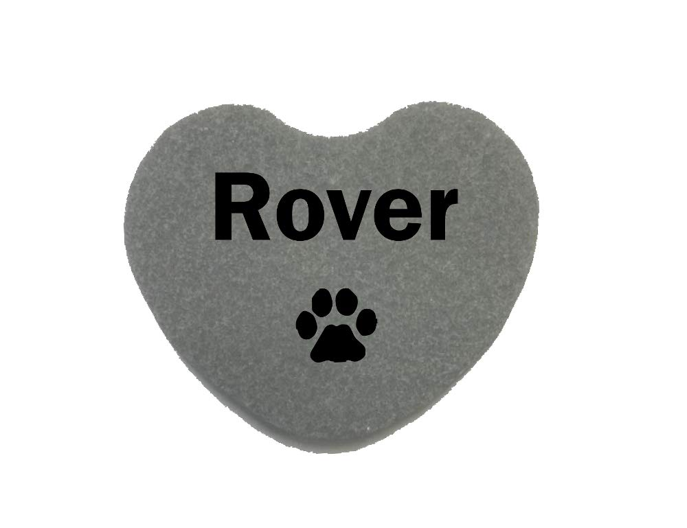 GraphicRocks Pet Memorial Headstone Grave Marker Gray Natural Stone Heart