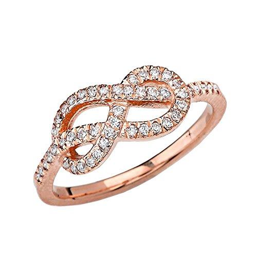 Elegant 10k Rose Gold Diamond-Studded Infinity Forever Love Knot Promise Ring