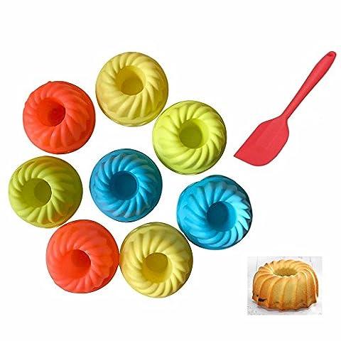 GOOTRADES 10 Pcs Mini Silicone Dessert Mold, Bundt Cake Pan 3 inch,Plus Free Spatula