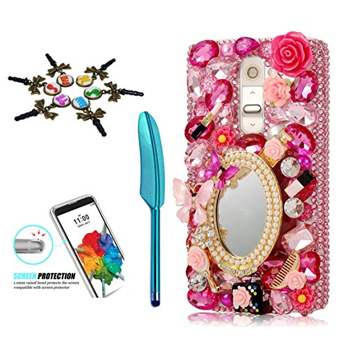 STENES LG Stylo 3 Case - 3D Handmade Crystal Sparkle Diamond Rhinestone Hybrid Cover for LG Stylo 3/Stylo 3 Plus/LG LS777 with Retro Anti Dust Plug & Stylus Pen - Girls Cosmetic Mirror Flowers/Red